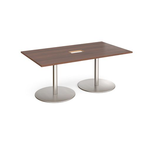 Eternal rectangular boardroom table 1800mm x 1000mm with central cutout 272mm x 132mm - brushed steel base and walnut top