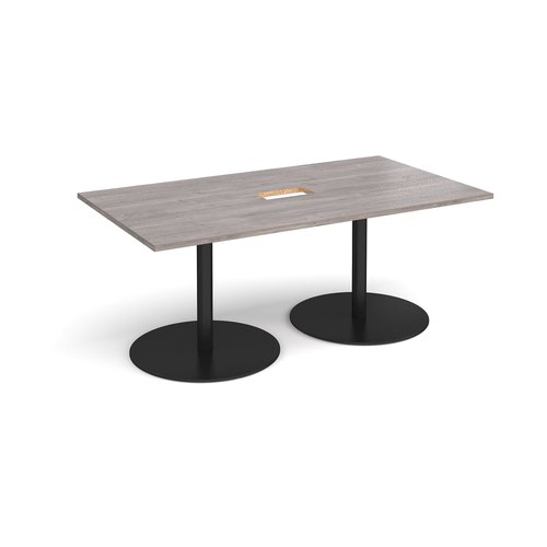 Eternal rectangular boardroom table 1800mm x 1000mm with central cutout 272mm x 132mm - black base and grey oak top