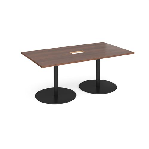 Eternal rectangular boardroom table 1800mm x 1000mm with central cutout 272mm x 132mm - black base and walnut top