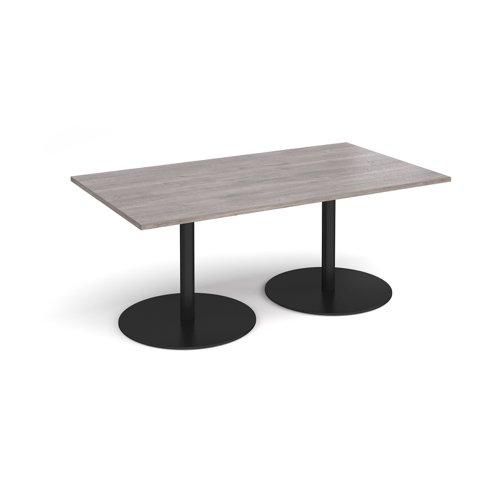 Eternal rectangular boardroom table 1800mm x 1000mm - black base and grey oak top