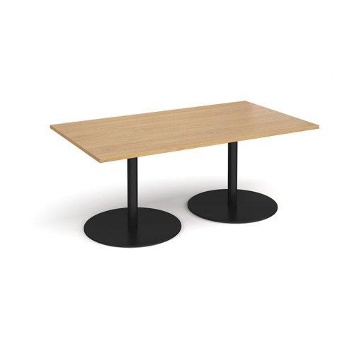Eternal rectangular boardroom table 1800mm x 1000mm - black base and oak top