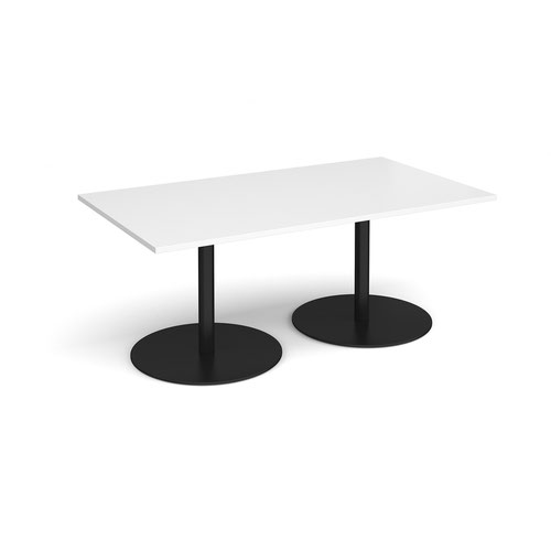 Eternal rectangular boardroom table 1800mm x 1000mm - black base and white top