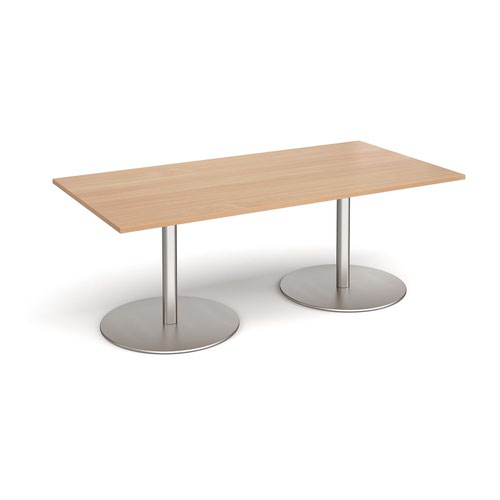 Eternal rectangular boardroom table 2000mm x 1000mm - brushed steel base and beech top