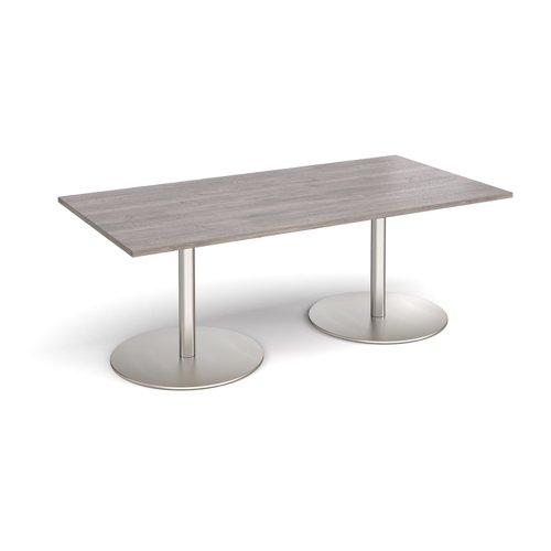 Eternal rectangular boardroom table 2000mm x 1000mm - brushed steel base and grey oak top