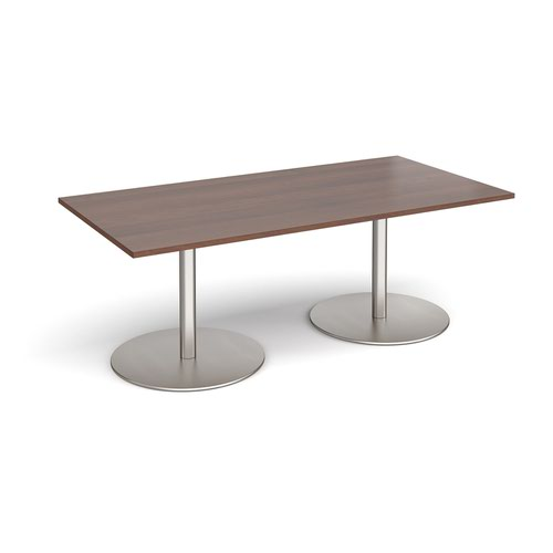 Eternal rectangular boardroom table 2000mm x 1000mm - brushed steel base and walnut top