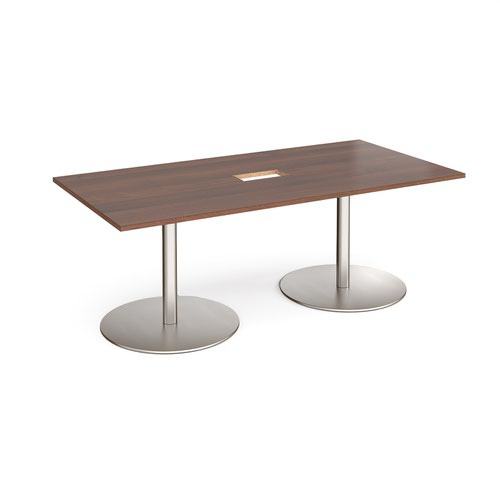 Eternal rectangular boardroom table 2000mm x 1000mm with central cutout 272mm x 132mm - brushed steel base and walnut top