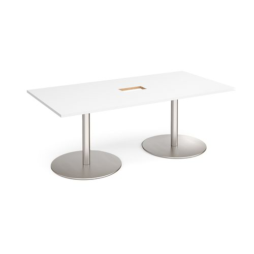 Eternal rectangular boardroom table 2000mm x 1000mm with central cutout 272mm x 132mm - brushed steel base and white top