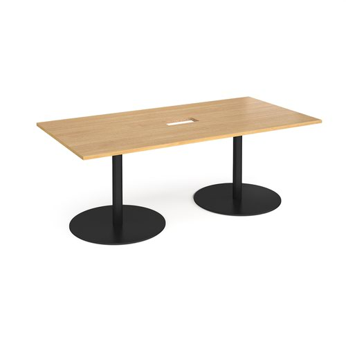 Eternal rectangular boardroom table 2000mm x 1000mm with central cutout 272mm x 132mm - black base and oak top