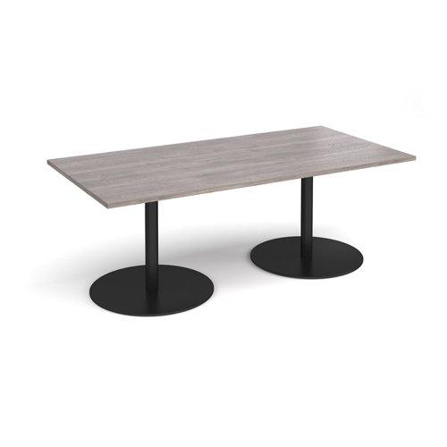 Eternal rectangular boardroom table 2000mm x 1000mm - black base and grey oak top