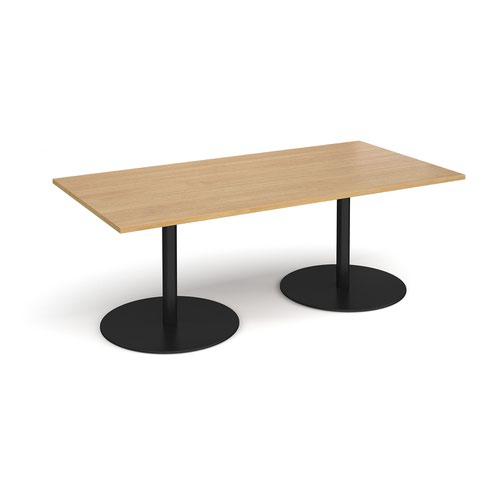Eternal rectangular boardroom table 2000mm x 1000mm - black base and oak top