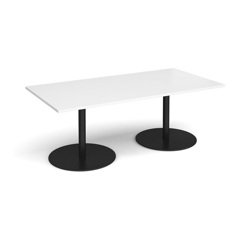 Eternal rectangular boardroom table 2000mm x 1000mm - black base and white top