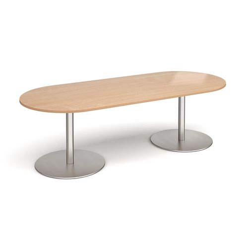 Eternal radial end boardroom table 2400mm x 1000mm - brushed steel base and beech top
