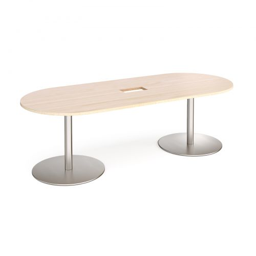 Eternal radial end boardroom table 2400mm x 1000mm with central cutout 272mm x 132mm - brushed steel base and maple top