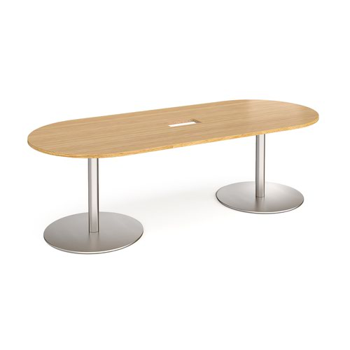 Eternal radial end boardroom table 2400mm x 1000mm with central cutout 272mm x 132mm - brushed steel base and oak top