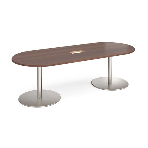 Eternal radial end boardroom table 2400mm x 1000mm with central cutout 272mm x 132mm - brushed steel base and walnut top