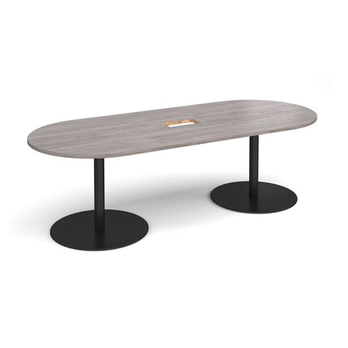 Eternal radial end boardroom table 2400mm x 1000mm with central cutout 272mm x 132mm - black base and grey oak top