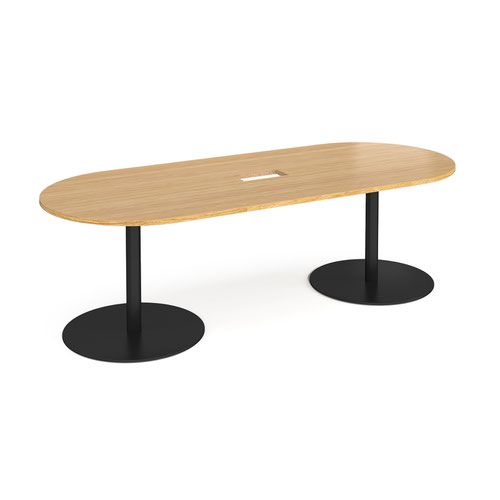 Eternal radial end boardroom table 2400mm x 1000mm with central cutout 272mm x 132mm - black base and oak top