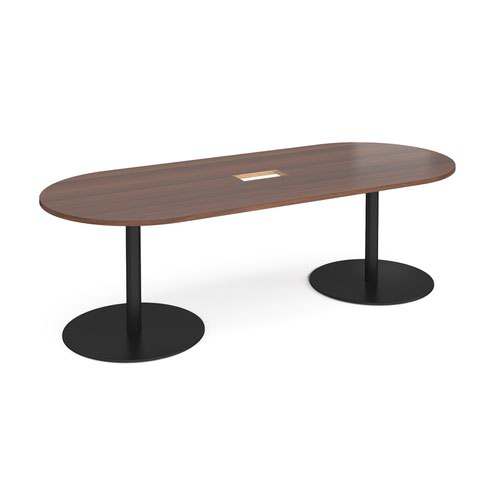 Eternal radial end boardroom table 2400mm x 1000mm with central cutout 272mm x 132mm - black base and walnut top
