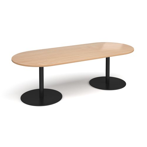 Eternal radial end boardroom table 2400mm x 1000mm - black base and beech top