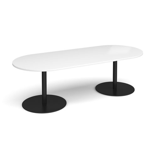 Eternal radial end boardroom table 2400mm x 1000mm - black base and white top