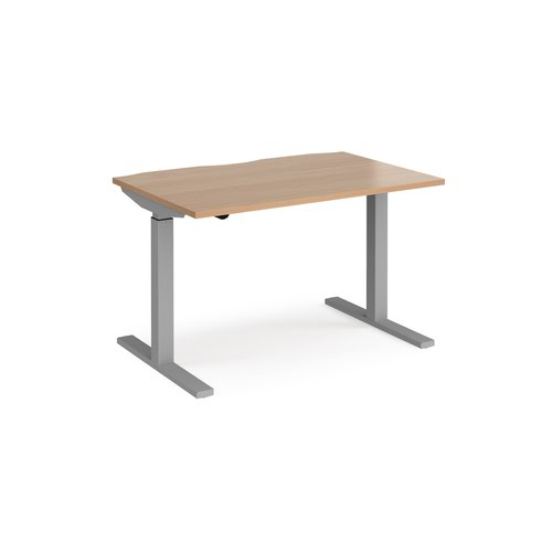 Elev8 Mono straight sit-stand desk 1200mm x 800mm - silver frame and beech top