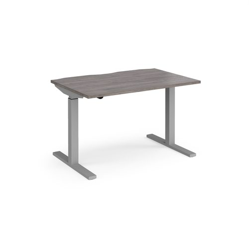 Elev8 Mono straight sit-stand desk 1200mm x 800mm - silver frame and grey oak top