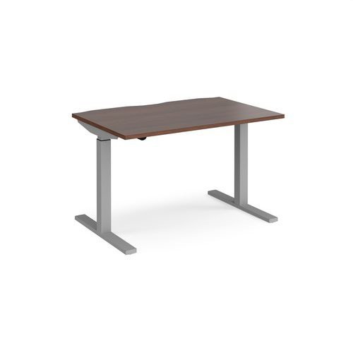 Elev8 Mono straight sit-stand desk 1200mm x 800mm - silver frame and walnut top