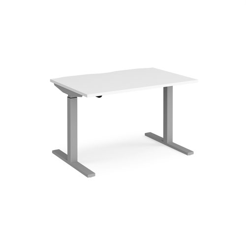 Elev8 Mono straight sit-stand desk 1200mm x 800mm - silver frame and white top
