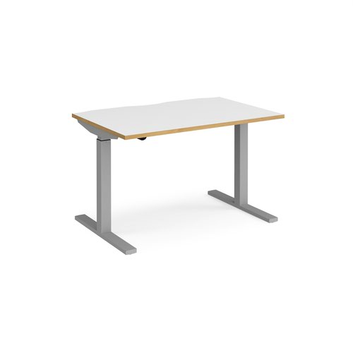 Elev8 Mono straight sit-stand desk 1200mm x 800mm - silver frame and white top with oak edge