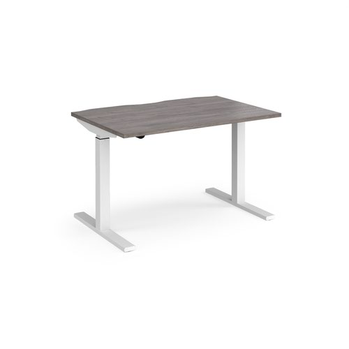 Elev8 Mono straight sit-stand desk 1200mm x 800mm - white frame and grey oak top