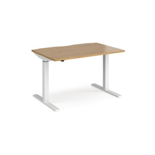 Elev8 Mono straight sit-stand desk 1200mm x 800mm - white frame and oak top