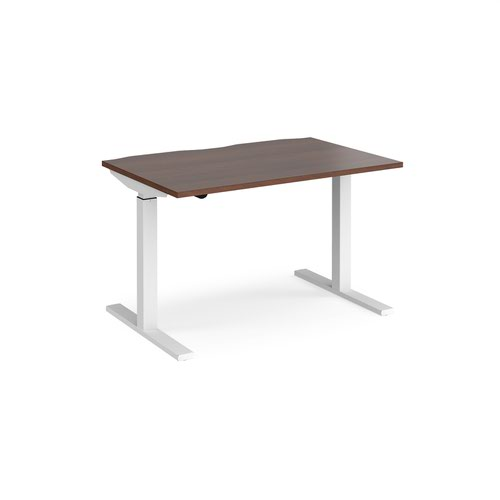 Elev8 Mono straight sit-stand desk 1200mm x 800mm - white frame and walnut top