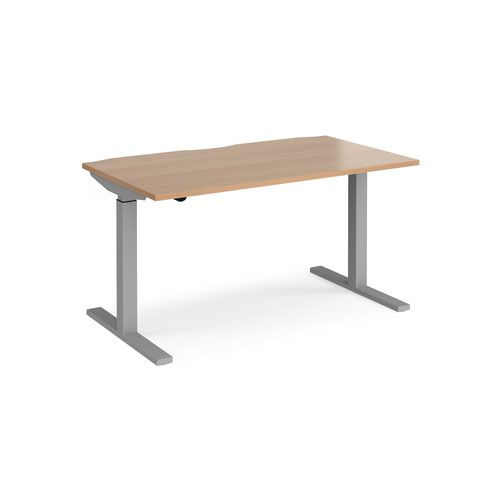 Elev8 Mono straight sit-stand desk 1400mm x 800mm - silver frame and beech top