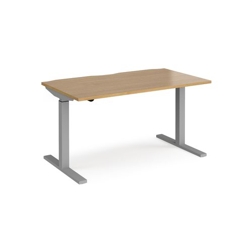 Elev8 Mono straight sit-stand desk 1400mm x 800mm - silver frame and oak top