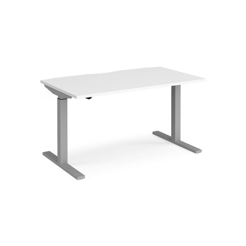 Elev8 Mono straight sit-stand desk 1400mm x 800mm - silver frame and white top