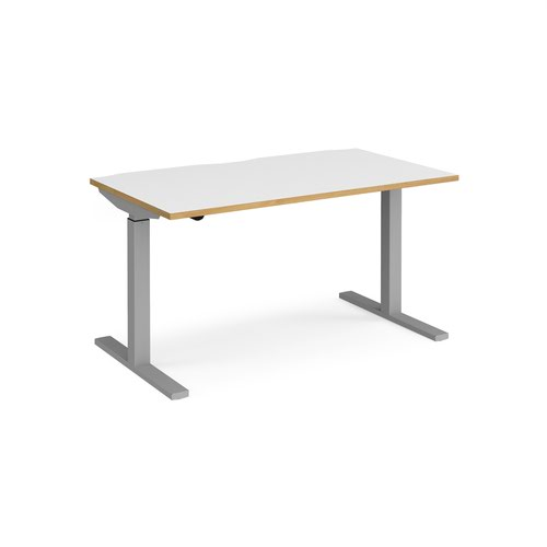 Elev8 Mono straight sit-stand desk 1400mm x 800mm - silver frame and white top with oak edge