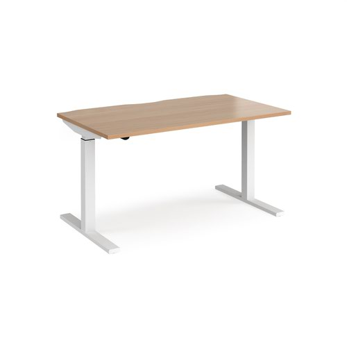 Elev8 Mono straight sit-stand desk 1400mm x 800mm - white frame and beech top