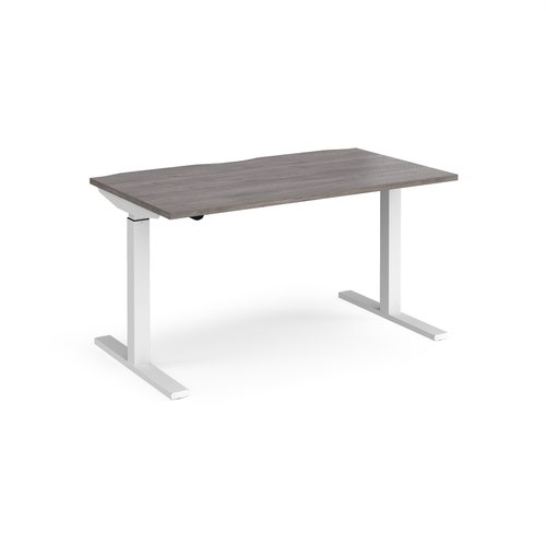 Elev8 Mono straight sit-stand desk 1400mm x 800mm - white frame and grey oak top