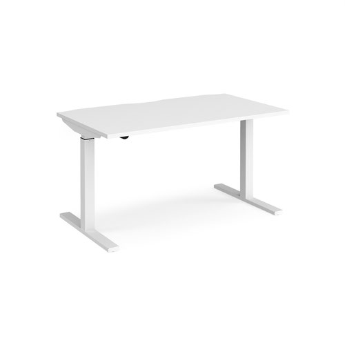 Elev8 Mono straight sit-stand desk 1400mm x 800mm - white frame and white top