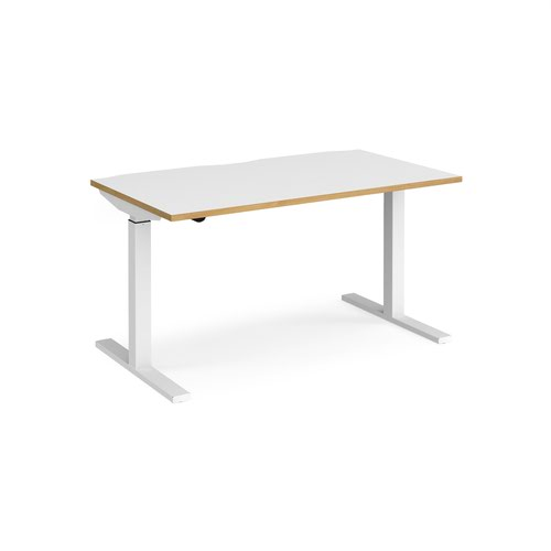 Elev8 Mono straight sit-stand desk 1400mm x 800mm - white frame and white top with oak edge