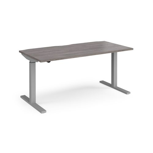 Elev8 Mono straight sit-stand desk 1600mm x 800mm - silver frame and grey oak top