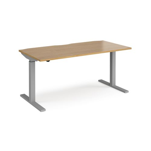 Elev8 Mono straight sit-stand desk 1600mm x 800mm - silver frame and oak top