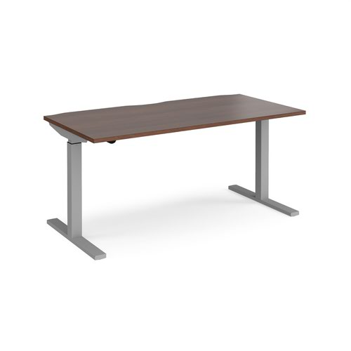 Elev8 Mono straight sit-stand desk 1600mm x 800mm - silver frame and walnut top