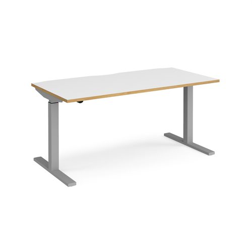 Elev8 Mono straight sit-stand desk 1600mm x 800mm - silver frame and white top with oak edge