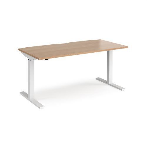 Elev8 Mono straight sit-stand desk 1600mm x 800mm - white frame and beech top