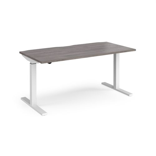 Elev8 Mono straight sit-stand desk 1600mm x 800mm - white frame and grey oak top