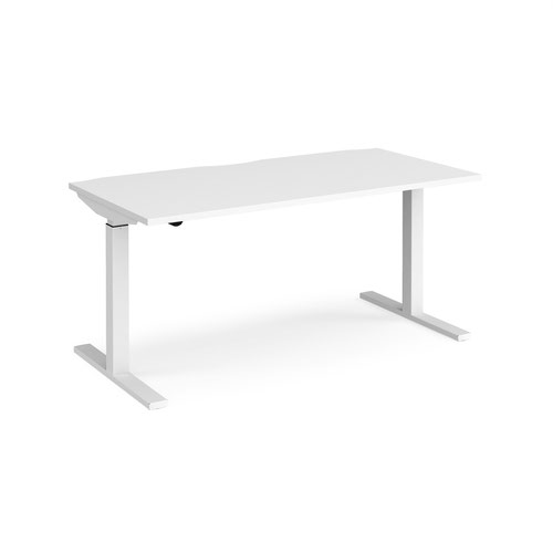 Elev8 Mono straight sit-stand desk 1600mm x 800mm - white frame and white top