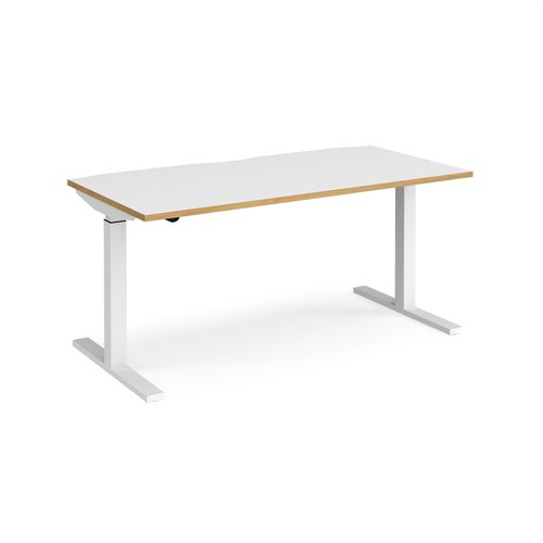 Elev8 Mono straight sit-stand desk 1600mm x 800mm - white frame and white top with oak edge