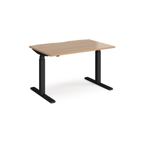 Elev8 Touch straight sit-stand desk 1200mm x 800mm - black frame and beech top