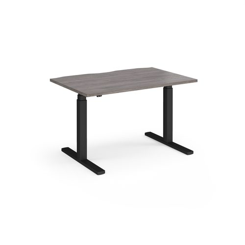 Elev8 Touch straight sit-stand desk 1200mm x 800mm - black frame and grey oak top